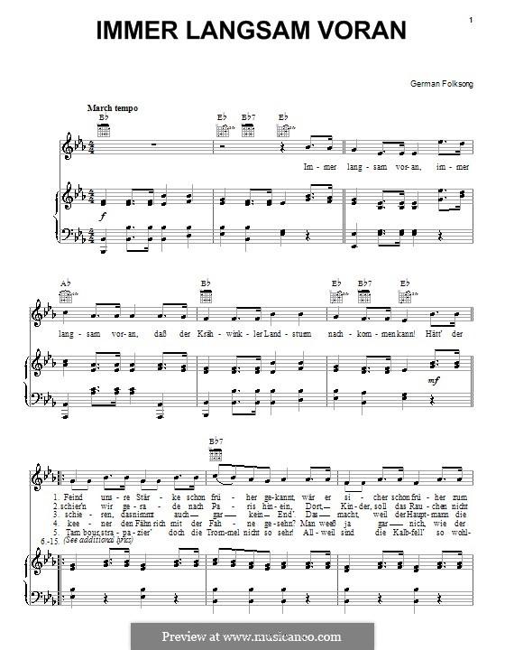 Immer Langsam Voran: Für Stimme und Klavier (oder Gitarre) by folklore