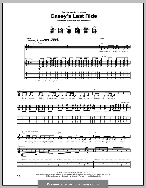 Casey's Last Ride: For guitar with tab by Kris Kristofferson