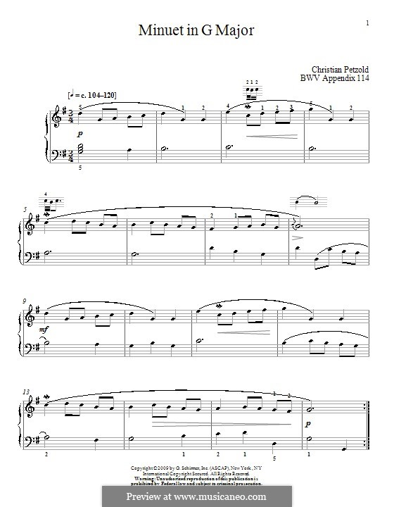 No.4 Minuet in G Major, for Piano: For a single performer (by Christian Petzold) by Johann Sebastian Bach