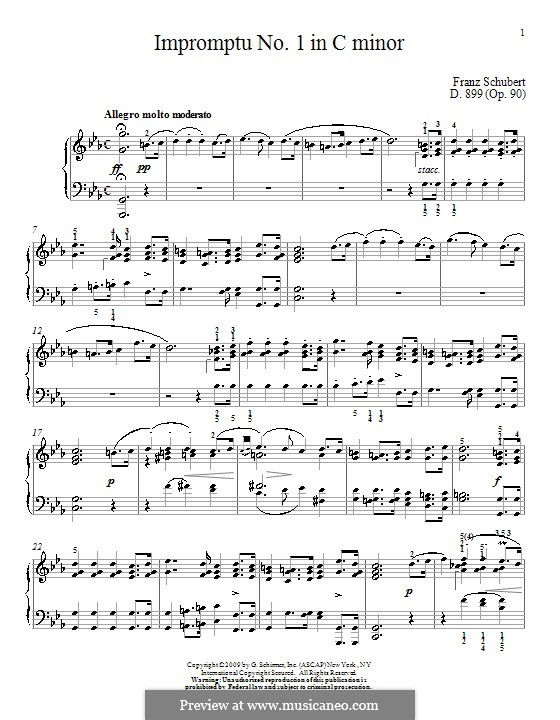Four Impromptus for Piano, D.899 Op.90: Impromptu No.1 by Franz Schubert