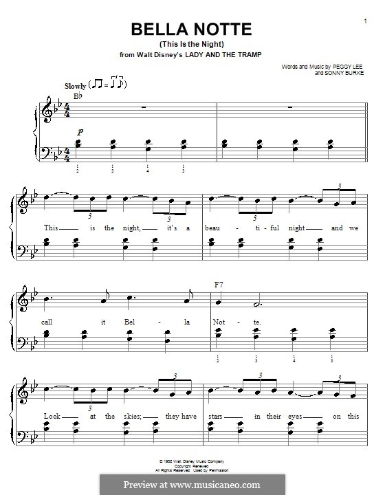 Bella Notte (This is the Night): For easy piano by Peggy Lee, Sonny Burke