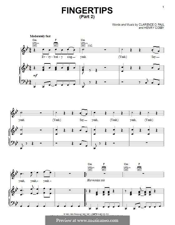 Fingertips (Stevie Wonder): For voice and piano (or guitar) by Clarence Paul, Henry Cosby