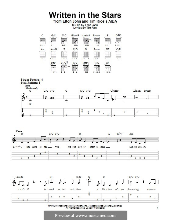 Written in the Stars: For guitar tab by Elton John