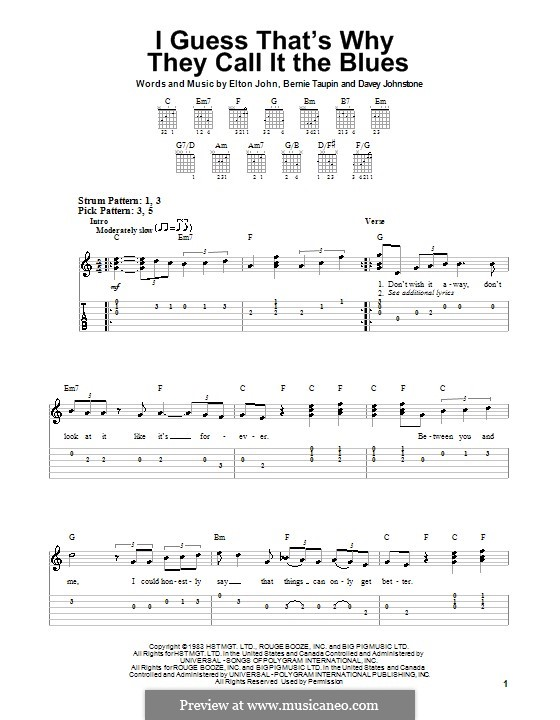I Guess That's Why They Call It the Blues: For guitar (very easy version) by Davey Johnstone, Elton John