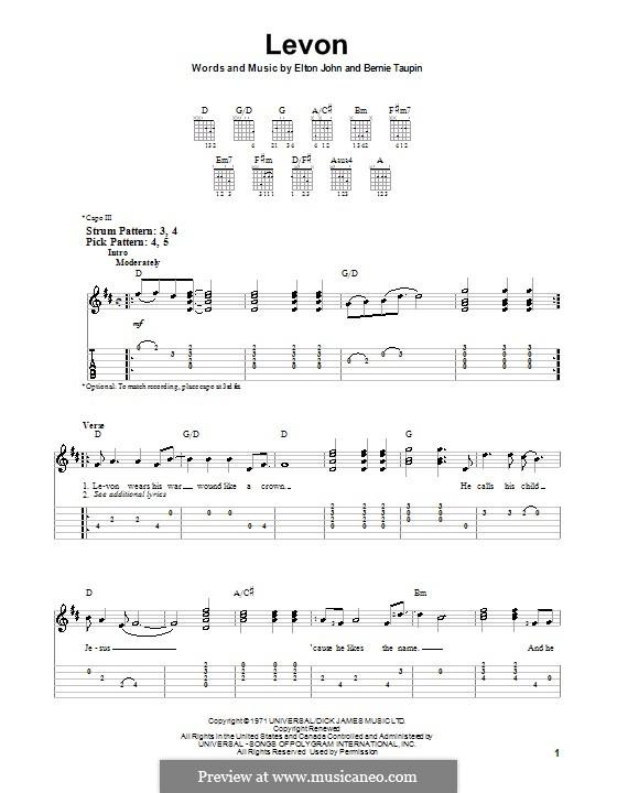 Levon: For guitar (very easy version) by Elton John