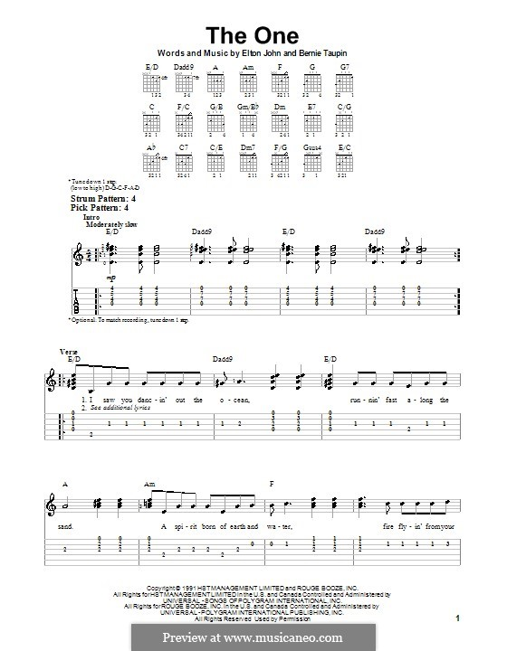 The One: For guitar (very easy version) by Elton John