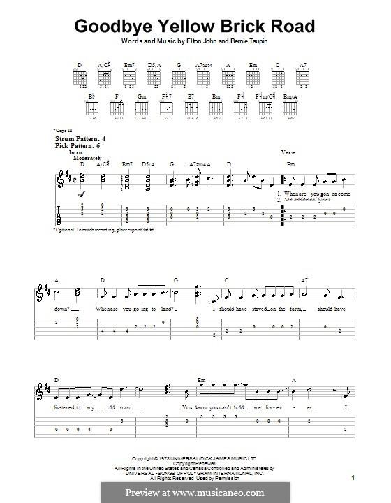 Goodbye Yellow Brick Road: For guitar (very easy version) by Elton John