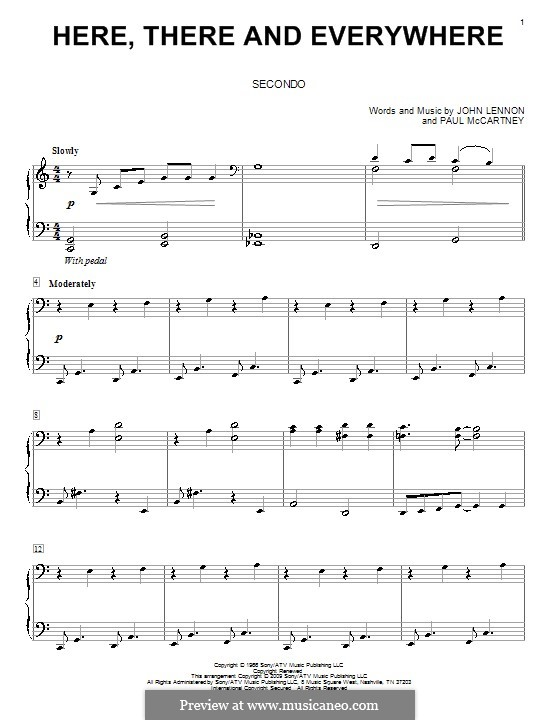 Here, There and Everywhere (The Beatles): For piano four hands by John Lennon, Paul McCartney