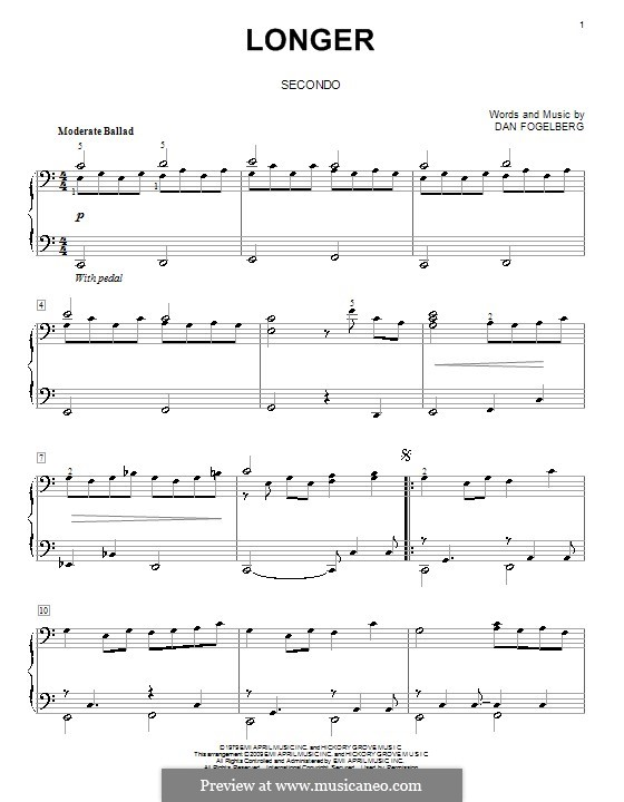 Longer: For piano four hands by Dan Fogelberg