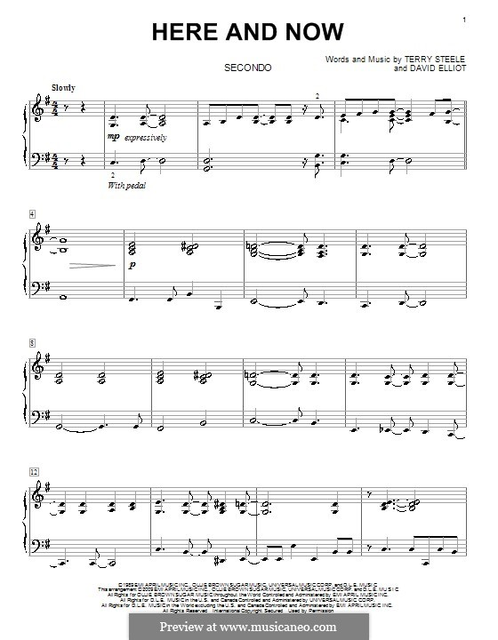 Here and Now (Luther Vandross): For piano four hands by David Elliot, Terry Steele