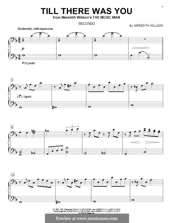 Till There Was You: For piano four hands by Meredith Willson