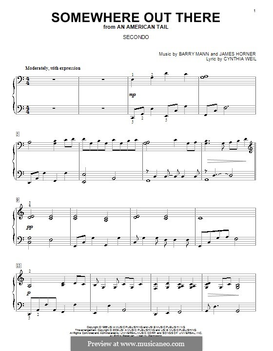 Somewhere Out There (from An American Tail): For piano four hands by Barry Mann, Cynthia Weil, James Horner