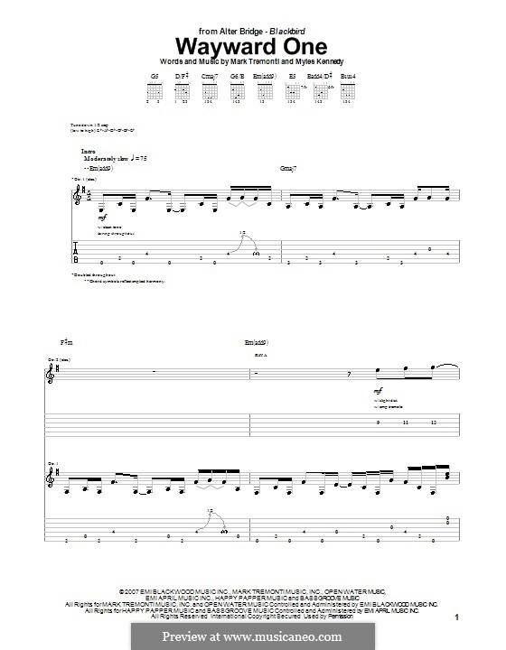 Wayward One (Alter Bridge): For guitar with tab by Mark Tremonti, Myles Kennedy