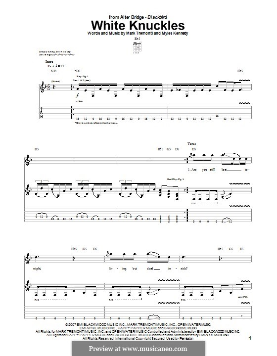 White Knuckles (Alter Bridge): For guitar with tab by Mark Tremonti, Myles Kennedy