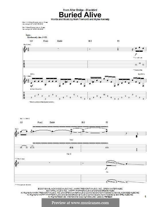 Buried Alive (Alter Bridge): For guitar with tab by Mark Tremonti, Myles Kennedy