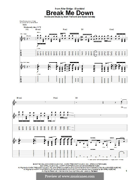 Break Me Down (Alter Bridge): For guitar with tab by Mark Tremonti, Myles Kennedy
