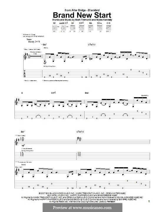 Brand New Start (Alter Bridge): For guitar with tab by Mark Tremonti, Myles Kennedy