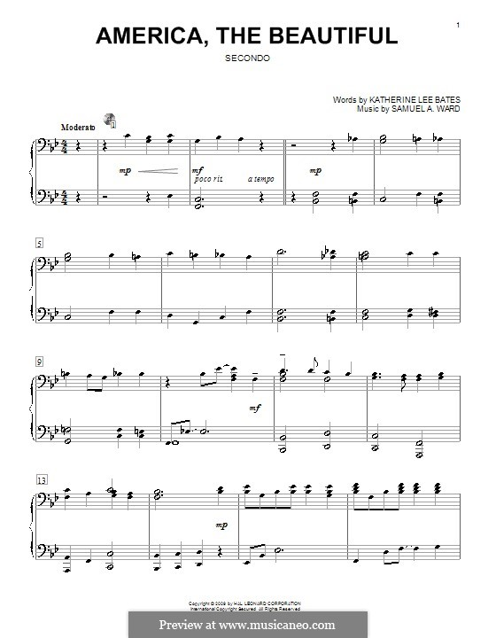 America the Beautiful: For piano four hands by Samuel Augustus Ward