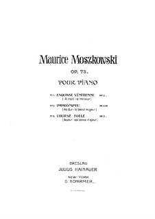 Three Pieces for Piano , Op.73: Complete set by Moritz Moszkowski