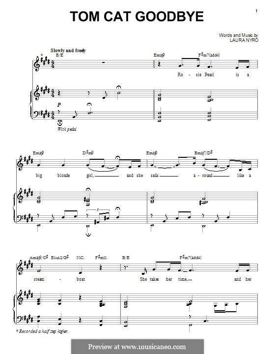 Tom Cat Goodbye: For voice and piano (or guitar) by Laura Nyro