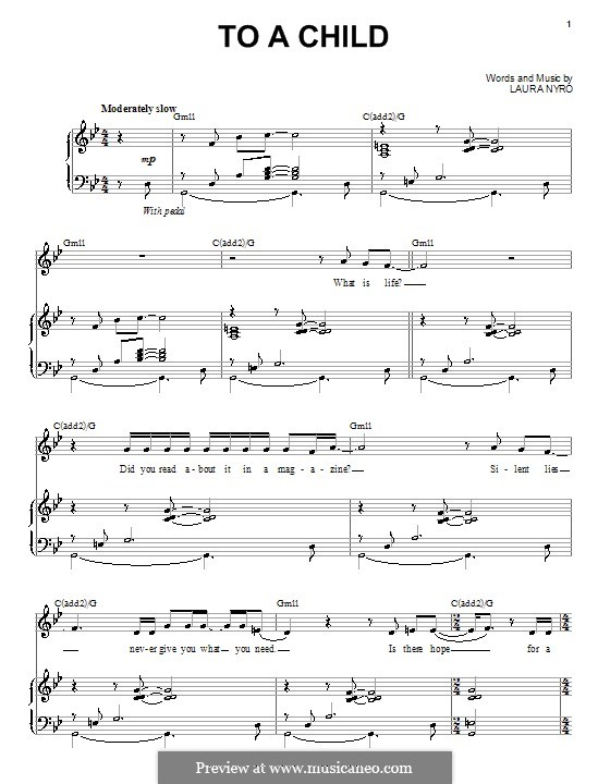 To a Child: For voice and piano (or guitar) by Laura Nyro