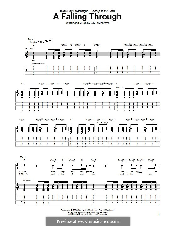A Falling Through: For guitar with tab by Ray LaMontagne
