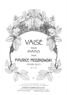 Three Waltzes for Piano, Op.79: Waltz No.3 in D Flat Major by Moritz Moszkowski