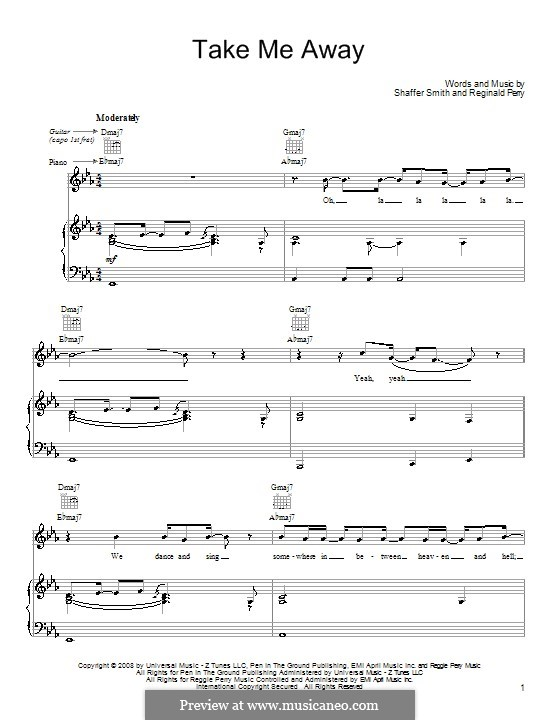 Take Me Away (John Legend): For voice and piano (or guitar) by Reginald Perry, Ne-Yo
