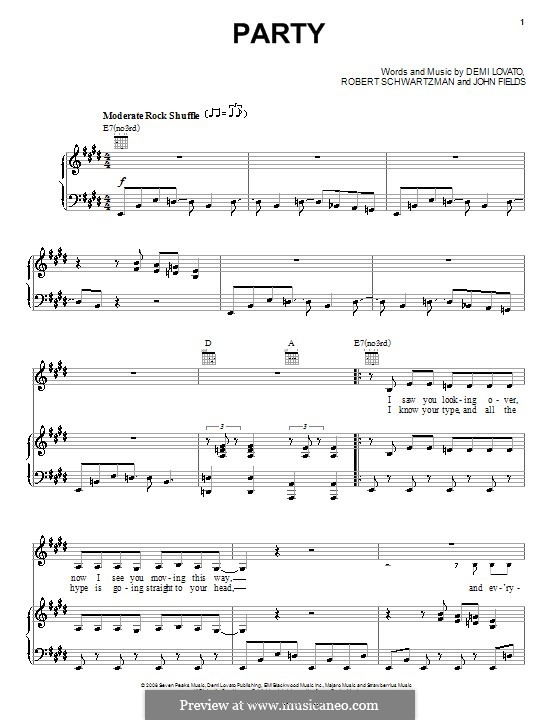 Party (Demi Lovato): For voice and piano (or guitar) by John Fields, Robert Schwartzman