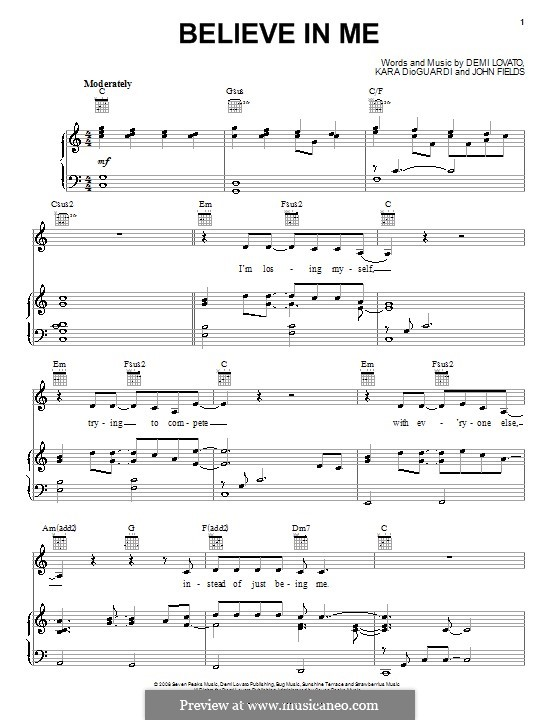 Believe in Me (Demi Lovato): For voice and piano (or guitar) by John Fields, Kara DioGuardi