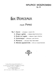 Six Pieces for Piano, Op.81: Six Pieces for Piano by Moritz Moszkowski