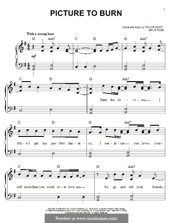 Picture to Burn (Taylor Swift): For easy piano by Liz Rose