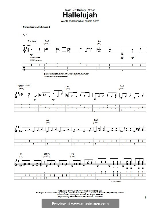 Hallelujah: For guitar with tab by Leonard Cohen