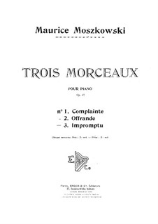 Three Pieces for Piano, Op.87: Complete set by Moritz Moszkowski