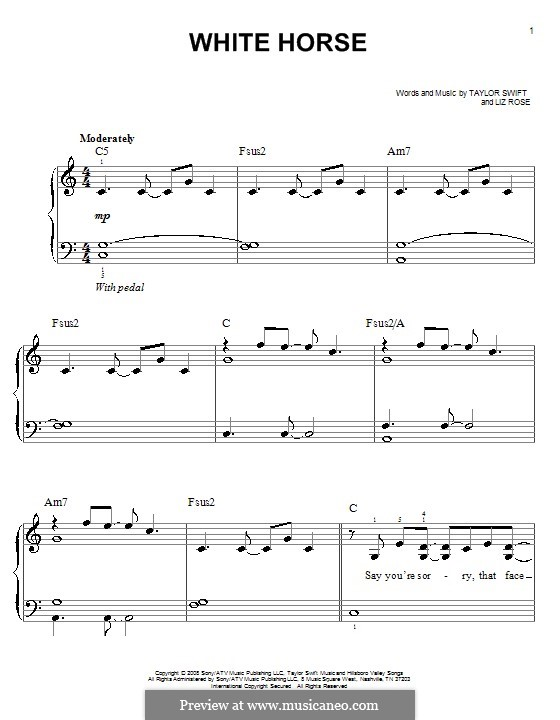 White Horse (Taylor Swift): For easy piano by Liz Rose