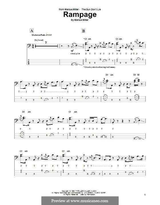 Rampage: For bass guitar with tab by Marcus Miller