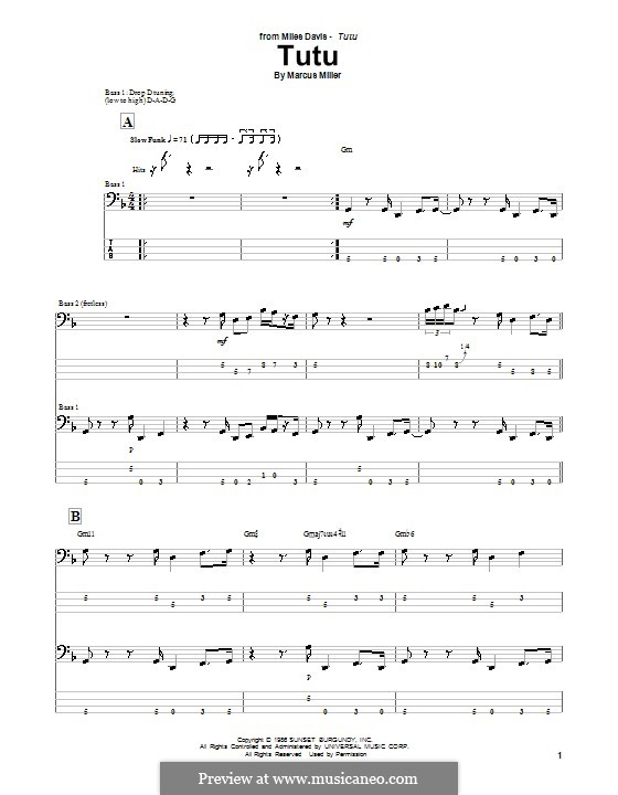 Tutu: For bass guitar with tab by Marcus Miller