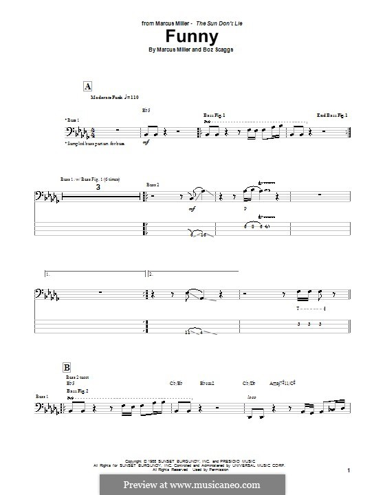 Funny: For bass guitar with tab by Marcus Miller