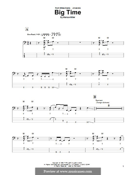 Big Time: For bass guitar with tab by Marcus Miller