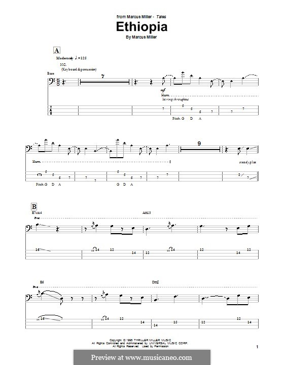 Ethiopia: For bass guitar with tab by Marcus Miller