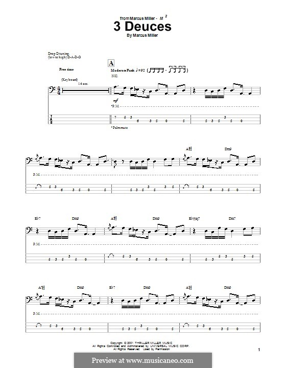 3 Deuces: For bass guitar with tab by Marcus Miller