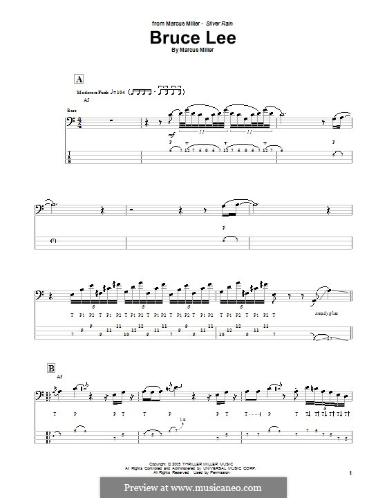Bruce Lee: For bass guitar with tab by Marcus Miller