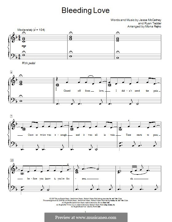 Bleeding Love (Leona Lewis): For easy piano by Jesse McCartney, Ryan B Tedder