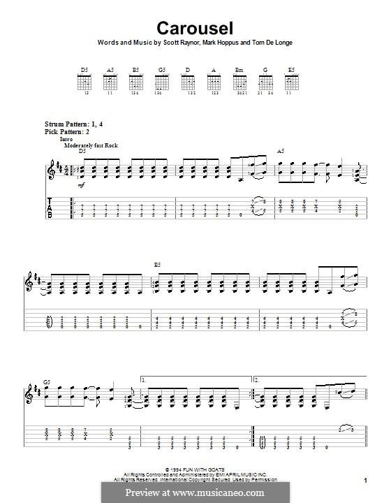 Carousel (Blink-182): For guitar (very easy version) by Mark Hoppus, Scott Raynor, Tom DeLonge