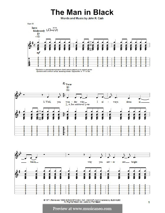 The Man in Black: For guitar with tab by Johnny Cash