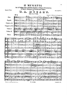 Twelve Minuets for Orchestra, K.568: Full score by Wolfgang Amadeus Mozart