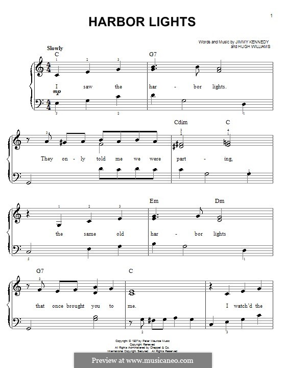 Harbor Lights (The Platters): For easy piano by Hugh Williams, Jimmy Kennedy
