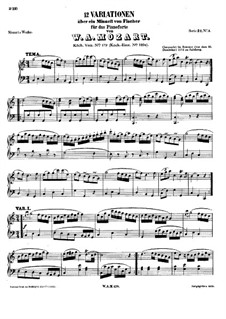 Twelve Variations on Minuet by J.C. Fisher, K.179: For piano by Wolfgang Amadeus Mozart