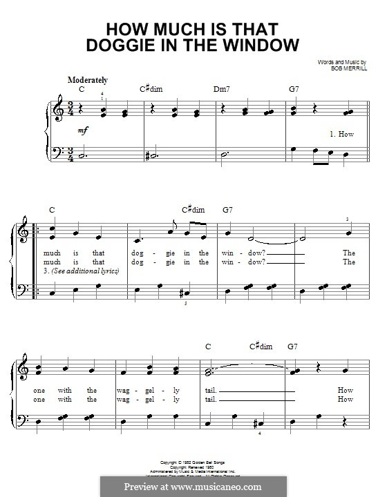 How Much is That Doggie in the Window: For easy piano by Bob Merrill