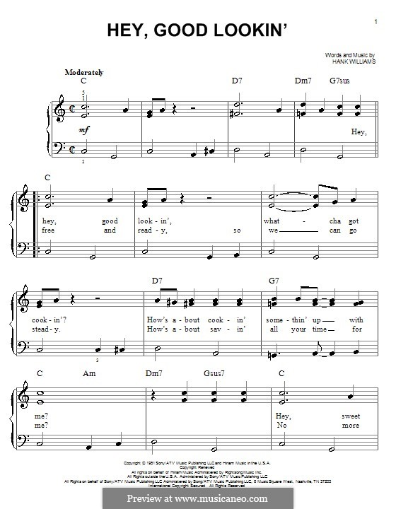 Hey, Good Lookin': For easy piano by Hank Williams